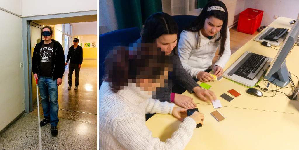 Left Side:  2 researchers of the  AIT explore the scool building blindfolded and equipped with a cane - Right Side: Pupils interacting with talking cards